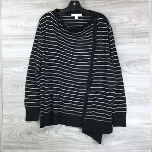 Sejour Black Stripe Off Center Button Up Cardigan